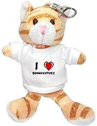 Gato marrón de peluche (llavero) con Amo Bonaventure en la camiseta (nombre de pila/apellido/apodo)
