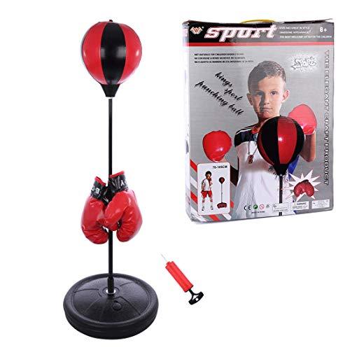 BANDRA Boxsack Set Höhenverstellbar 75-105cm Boxstand Punching Stand Punchingball Set mit Boxhandschuhen Pumpe für Kinder Jugendliche
