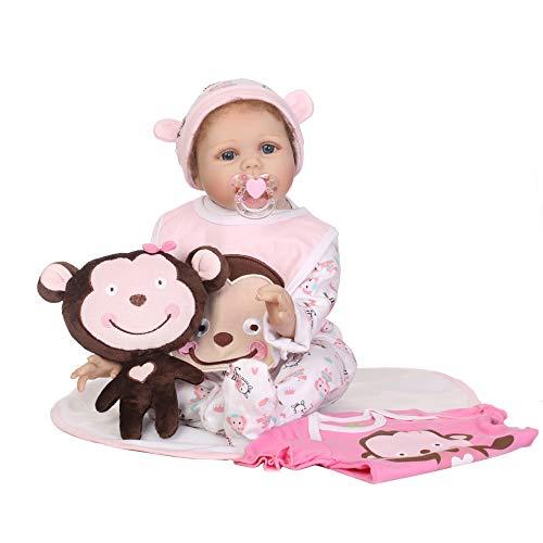 Huafi 22 Zoll Silikon Lebensechte Puppe Decke Schürze Cartoon Onesies Hut AFFE Ändern der Kleidung Frühen Kindheit Kinder Baby Spielzeug