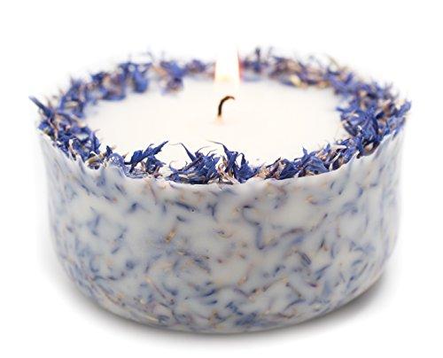 Duftkerze Soja Lavendel Beige Blau Kerze aus Bio Sojawachs vegan ätherisches Lavendel Öl Geschenk Aromatherapie -