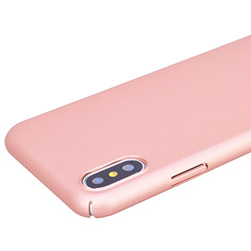 Cover iPhone X, VemMore Custodia in Difficile PC Protettiva Case Ultra Sottile Resistente con Colore Solido Superficie Rivestita Matte Backcover Caso di Alta Qualità Durevole Flessibile Plastica Shell Oro Rosa