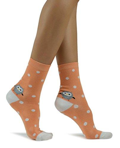 Calcetines de tobillo naranja claro con lunares blancos, patrón de búhos lindos