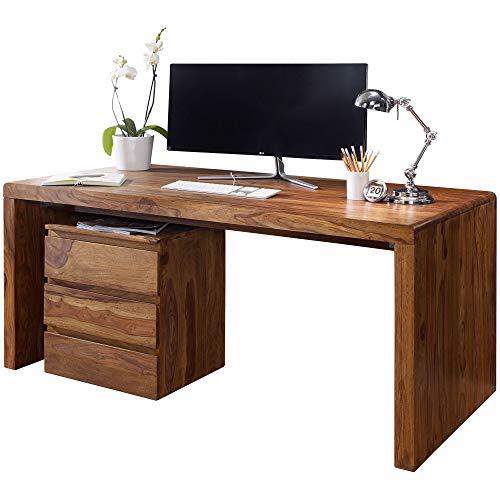 FineBuy Schreibtisch Massiv-Holz Sheesham Computertisch 160 cm breit Echtholz Design Ablage Büro-Tisch Landhaus-Stil Natur-Produkt Büro-Möbel dunkel-braun Modern Büroeinrichtung rechteckig 76 cm hoch -