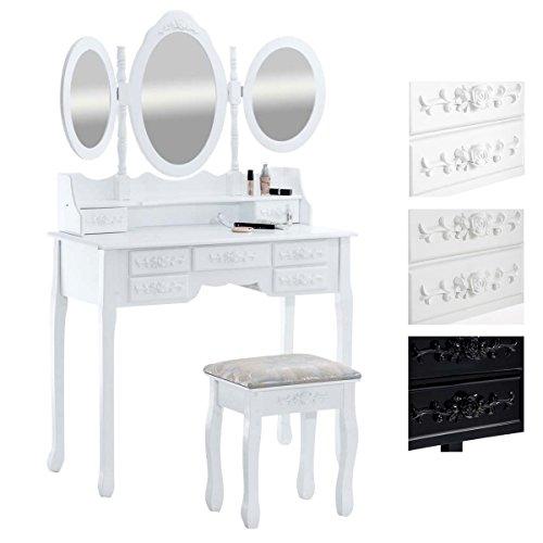 Clp toeletta pauline 3 specchi ovali shabby chic - specchiera per camera da letto in legno - tavolo trucco con cassetti e sgabello imbottito 90x40cm bianco