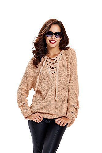 apparel-womens-long-sleeve-lace-up-knit-pullover-sweater-dress-top-khaki