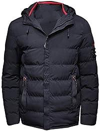 FNKDOR Doudoune Homme épais Manteau à Capuche Fermeture éclair Manteau  D Hiver Chaud Couleur Pure be106a5eaa2