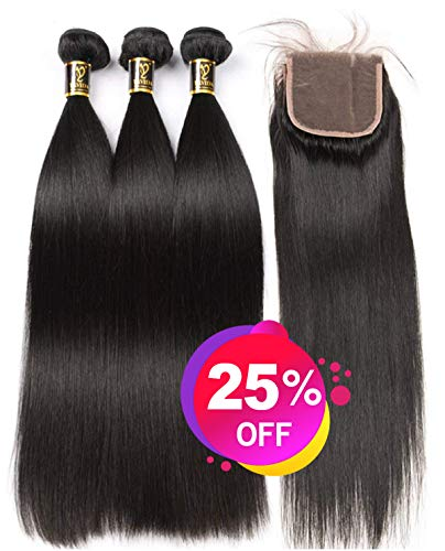 Yavida Human Hair 3 Bundles with Closure Brazilian Human Hair Straight Weave Bundles Straight Hair with Lace Closure Brasilianische Echthaar Extensions 22 24 26+20 Inch