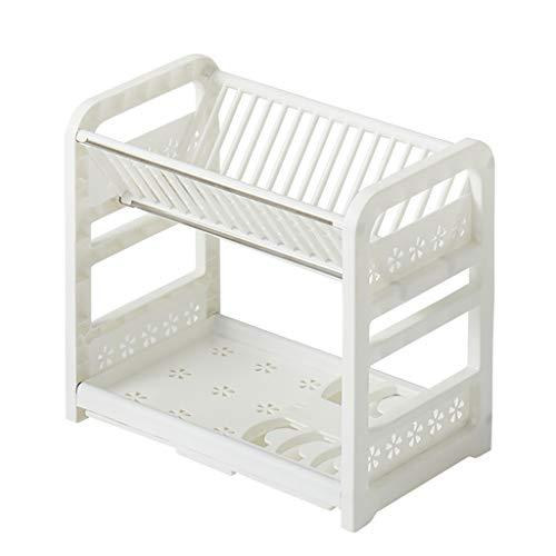 WYQ Blanc égouttoir Vaisselle Plastique 2 étages avec Plateau (pour Ranger Bols, Assiettes, Tasse) Gardez Le Bien rangé (Couleur : Blanc, Taille : 40.5cm × 24.5cm × 36cm)