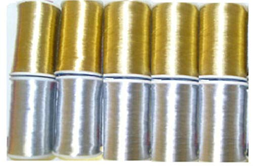 GCS London 12 bobines de Fil métallique Doré - 125 metres Chaque Spool- Total 1500 metres