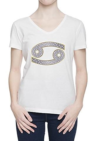Signe De Zodiaque De Cancer Femme Blanc V Col T-shirt Toutes Les Tailles   Women's White V Neck T-shirt Top