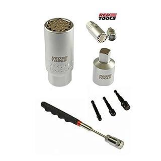 Red Tools Universalnuss 9-21 mm mit LED Magnetgreifer u. 3 tlg.-Adapterset.