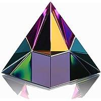 "H & D 2,4""H colorido forma de pirámide–pisapapeles de cristal con caja de regalo"