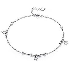 Kim Johanson Damen Fußkettchen *Silver Star* aus Edelstahl in Silber mit beweglichen Sternen & Kugeln inkl. Schmuckbeutel