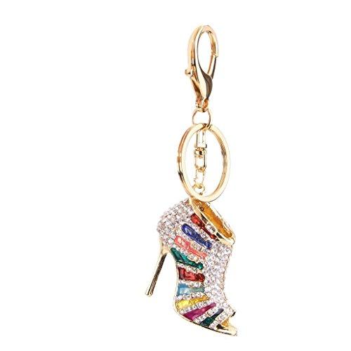 Newin Star Estilo de la Moda Llavero del tacón Alto cristalino Encantador Pendiente de la Llave de Zapatos para Las Mujeres del Monedero del Bolso de la decoración Colorida Decoración de hogar
