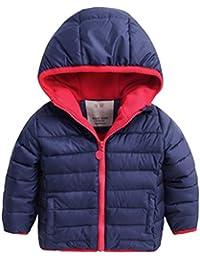 Happy Cherry - Chaqueta Niños para Invierno Abrigo Acolchado Grueso Infantil Cálido con Capucha Sombrero Coat Kid - Verde Rojo Azul/12-18meses 18-24meses 2-3 años 4-5años 6-7años