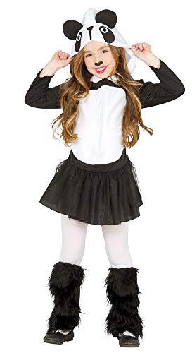 shoperama Süßes Panda Mädchen-Kostüm Pandabär Petticoat-Kleid Kapuze Stulpen Fleece Fell Tüll Tier Zoo Karneval Kinder, Kindergröße:7-9 - Mädchen Tier Kostüm Kleid