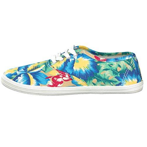 Sneaker Schnürrschuh Freizeitschuh Unisex im Floral-Designe - verschiedene Farben - Größen: 36-41 - von Brandsseller Blau/Gelb