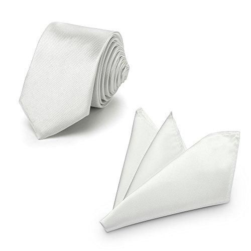 Rusty Bob Krawatte mit Einstecktuch (in vielen Farben) - für die Verlobung, die Hochzeit - Schlips mit Taschentuch für das Sakko - 2er-Set (Silber hell)