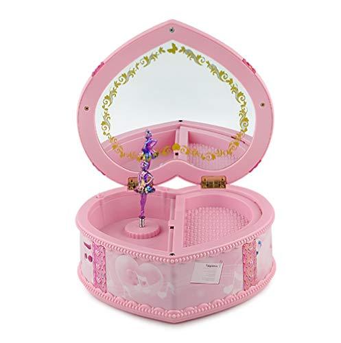 Sipobuy Caja de almacenaje de joyería Musical de para niña con Bailarina giratoria, con Forma de corazón con un Bonito Color Rosa, con luz y Espejo