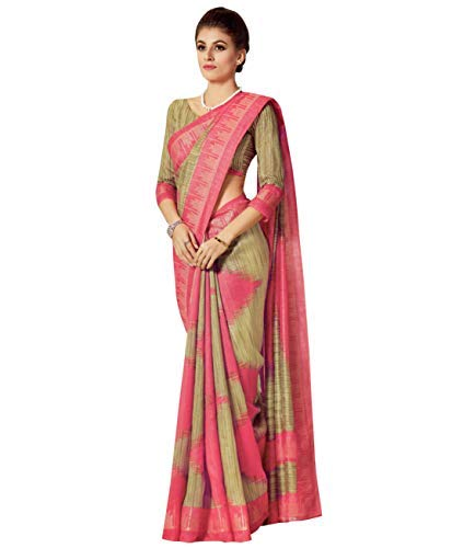 126ded12bc Miraan Printed Bhagalupri Cotton Saree for Women with Blouse (X8154)
