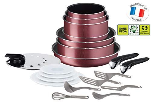 Tefal L2289002 Ingenio Essential Set De 20 Pièces Tramé Rouge Tous Feux Sauf Induction