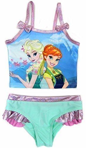 Mädchen Frozen Elsa Und Anna Tankini Schwimmen Kleidung Kostüm Ex Store 18-24M Bis Zu 6-7Y - Bunt, 86-92