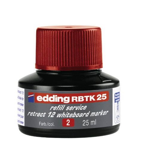edding RBTK25 Retract 12 Whiteboardmarker Nachfülltinte - Inhalt: 25ml - Farbe: rot - Tusche für...