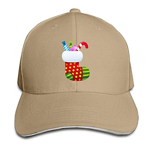 Men's Women's Christmas Stocking with Candy Cotton Adjustable Peaked Baseball Cap Adult Sandwich Hat