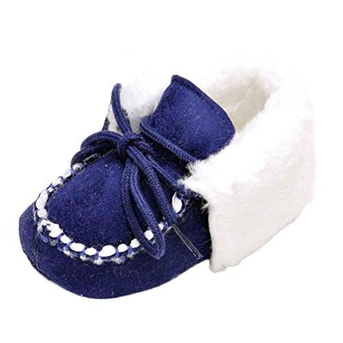 Ouneed® Krabbelschuhe , 0-18 Monate Baby weiche Sohle Krippe Warm Knopf Wohnungen Cotton Boot Blau