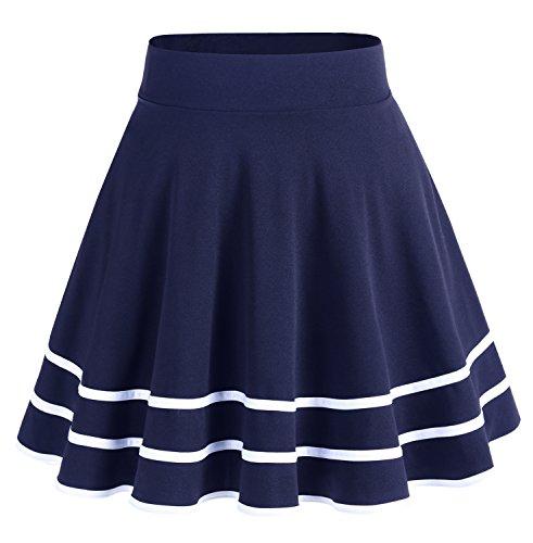 Dresstells Damen Basic Solide vielseitige Dehnbar Informell Mini Glocken Navy-White S