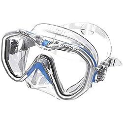 Seac Italica Masque Monoverre pour la plongée Professionnelle, Les Loisirs ou l'apnée, de Haute qualité fabriqué en Italie Adulte Unisexe, Transparent/Bleu, Regular Fit