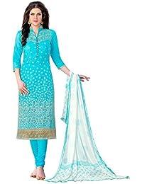 Jheenu Women's Sky Blue Glass Cotton Unstitched Dress Materials