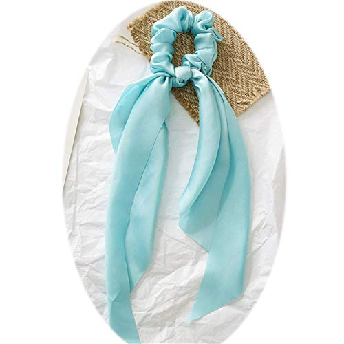 OULN1Y Stirnband Summer Multicolor Women Headwear Turban DIY Bow Streamers Hair Scrunchies Ribbon Hair Ties Horsetail Ties Head Wrap,light blue Bow Tie Solid Light