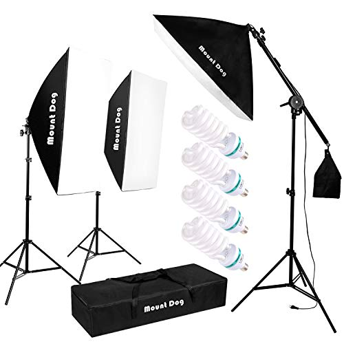 MOUNTDOG Fotografie Studio Beleuchtung Kit 3X Softbox 4x135W Dauerlicht mit Tragetasche Verstellbarer Ständer Boom Arm Sandsack Fotografie Ausrüstung für Fotoaufnahmen Video Portrait