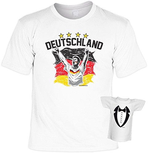Fussball-Spaß-Shirt inkl. Mini-Shirt/Flaschendeko/Geschenk-Set: DEUTSCHLAND - Sprüche-Shirt inkl. Flaschendeko Weiß