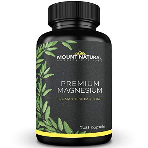 Mount Natural Premium Magnesium 240 Kapseln - 2000mg Magnesiumcitrat, davon 320mg elementares Magnesium/Tagesdosis. Laborgeprüft, frei von Zusatzstoffen, vegan, hochdosiert, aus Deutschland, no China