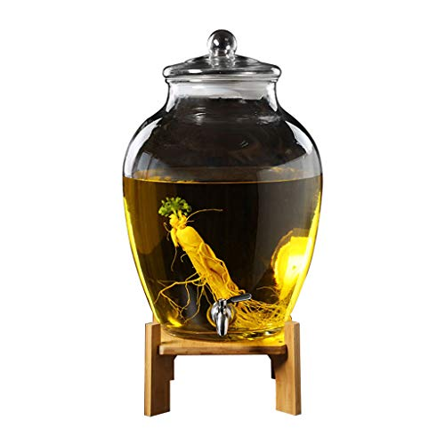 GeträNkespender Aus Transparentem Glas, SaftbehäLter Mit GroßEm FassungsvermöGen FüR Den Haushalt - Versiegelter BehäLter Mit Wasserhahn Und Boden - GeträNkeautomat FüR Hotelbarpartys