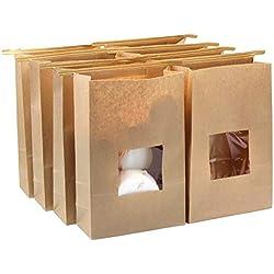 Lenhart - Lot de 50sacs en papier Kraft ciré de qualité alimentaire avec rabat de fermeture, 15x 7x 23,5cm