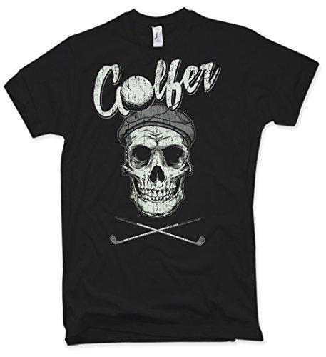 NG articlezz Golfer Skull T-Shirt, Totenkopf, Oldschool, Verschiedene Farben, Gr. S - XXL (Golf Distressed Shirt)