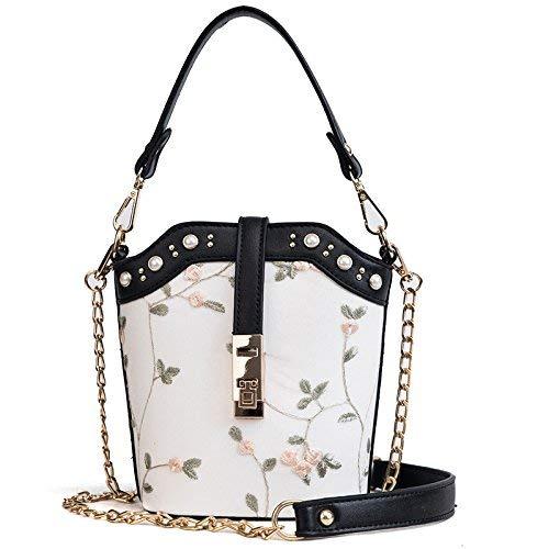 JKHGJUH Die Mädchen-Paket-Sommer-gestickte Handtasche mit einer einzelnen Schultertasche-Handtaschen-Verschluss-Handy-Taschen, Dokumenten-Taschen-Kreuz, Quadrat (Farbe : Black) - Canvas Gestickte Handtasche