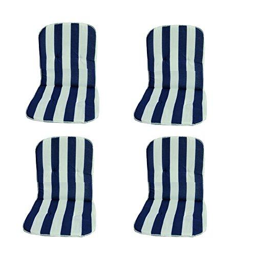 Beo 4-er MS08 Palma MN - Lehner ms08 Almohadillas Bajas Palma MN monobloque para taburetes apilables, Alrededor DE 40 x 72 cm, 2 cm de Espesor, Azul/Blanco