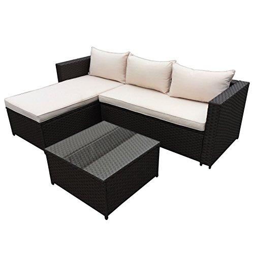 POLY RATTAN Corner Lounge Gartenset Schwarz Sofa Garnitur Polyrattan Gartenmöbel Neu