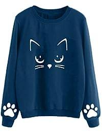 VJGOAL Mujeres Moda Casual Otoño e Invierno Lindo Gato impresión Suéter de Cuello Redondo de Manga Larga Color sólido Blusa Jersey