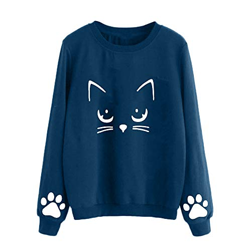 VECDY Damen Jacken,Räumungsverkauf-Frauen Herbst und Winter Katze Pullover Rundhals Langarm Reguläre Bluse Lässige süße Mädchen setzen charmante Pullover (L, Blau)