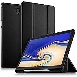 ELTD Coque Housse Étui pour Samsung T830/T835 Galaxy Tab S4 10.5, avec Porte Crayon Auto Réveil/Sommeil pour Samsung Galaxy Tab S4 10.5 SM-T830N/T835N 2018, Noir