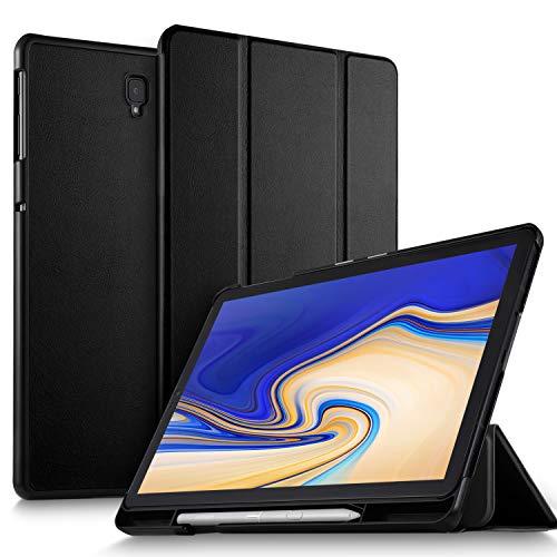 ELTD Hülle für Samsung Galaxy Tab S4 T830/T835, Ultra Leightweight Flip mit Ständer und Eingebautem Magnet PU Leder Hülle für Samsung Galaxy Tab S4 T830/T835 10.5 Zoll 2018 [Schwarz]