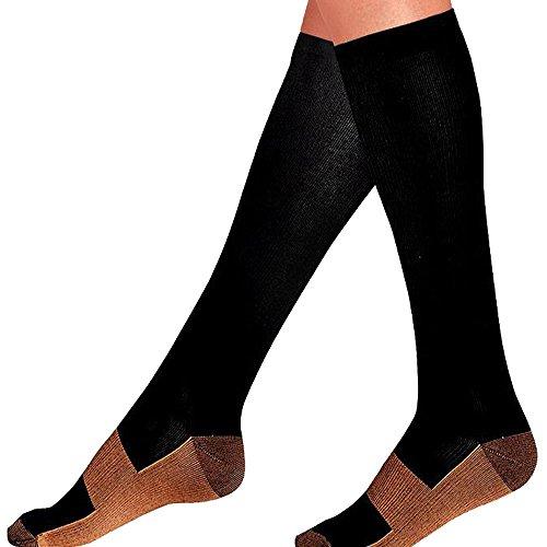 0af9804656 Samidy Copper Fiber Sports Compression Socks Anti-fatigue Pressure Socks  Anti-venous Elastic Socks Men Women Unisex (Black, L/XL(Women 5.5-13 / Men  7-13.5)) ...