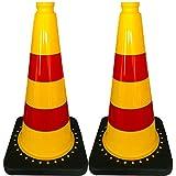 2pieza uvv® de Reflex Cono Amarillo Rojo 50cm Con reflectantes rojos Pantalla rayas tipo RA1–Cono–'Cono apilable