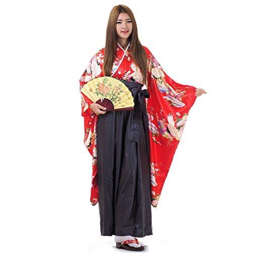 Princess of Asia Japan Damen Geisha Samurai Kimono Outfit Kostüm S M 36 38 40 (Rot & (Geisha Samurai Kostüm)
