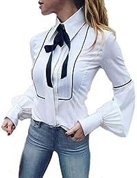 b04ca0aa627e3 Wolfleague Chemisier Chemises Femmes Chic Manche Longue OL Blouse Travail  Blanc Basic Boutons Arc Attacher Revers